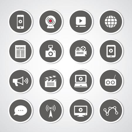 botton: media symbol set for use Illustration