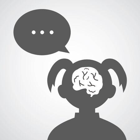 goal setting: brain vector cartoon in woman avatar