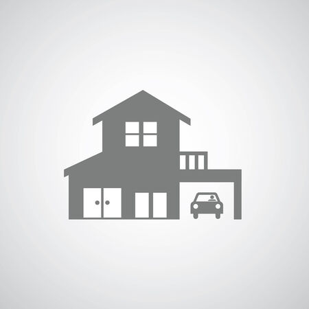 home construction on gray background  Illustration