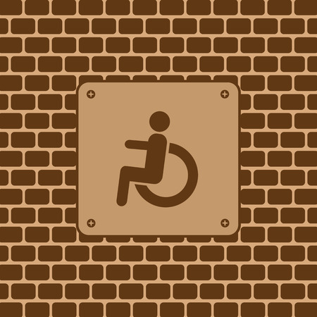 Vector disabled man restroom sign in the wall  Vector