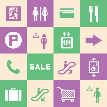 emerging markets: shopping mall icons set