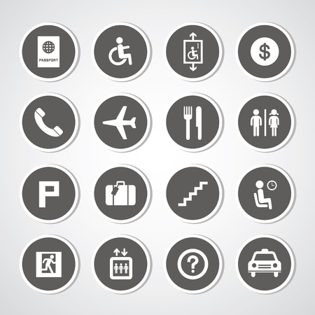 Airport icons set for use Vectores