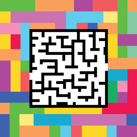 maze against on colorful background  Illustration