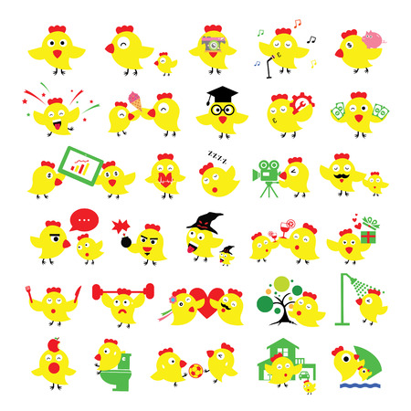 chicken cartoon in activities set Vector