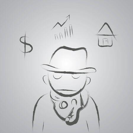 worker man: worker man hand drawn cartoon sketch  Illustration