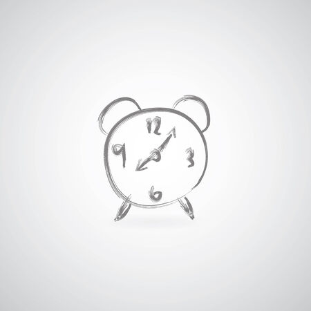 alarm clock sketch on gray background  Vector