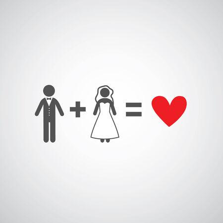 vintage bride: bride and groom symbol on gray background  Illustration