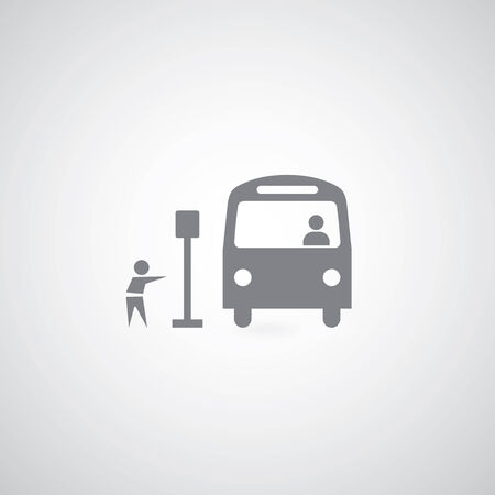 Bus symbol on gray background  Vector