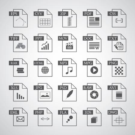 Dateityp-Symbol auf grauem Hintergrund Standard-Bild - 26975393