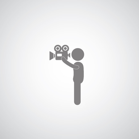 Photographers movie symbol on gray background   Vector