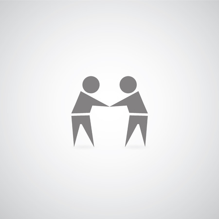 shake hand symbol on gray background  Vector
