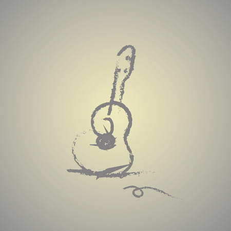 nylon: hand drawn acoustic guitar vector