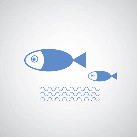 mather: big fish leading small fishes on gray background   Illustration