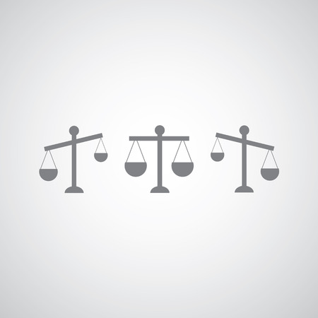 equilibrium: justice icon on gray background