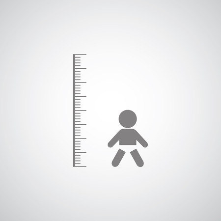 height measurement  little boy symbol on gray background  Vector