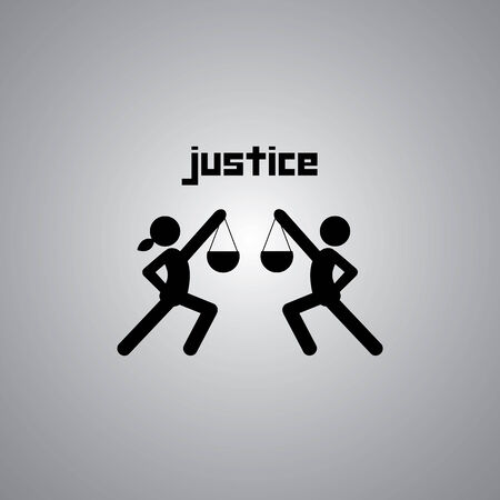 justice symbol on gray background Stock Vector - 26975449