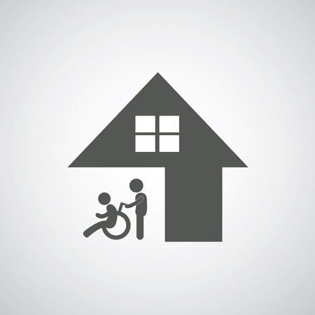 nurse home: disabled care sign on gray background  Illustration