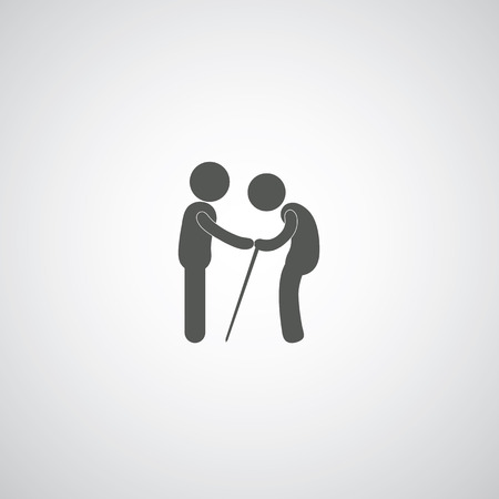 take care elder symbol on gray background  Vector