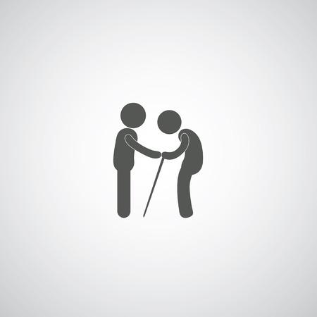 take care elder symbol on gray background 免版税图像 - 26975455
