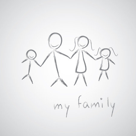 my family sketch on gray background  Vector