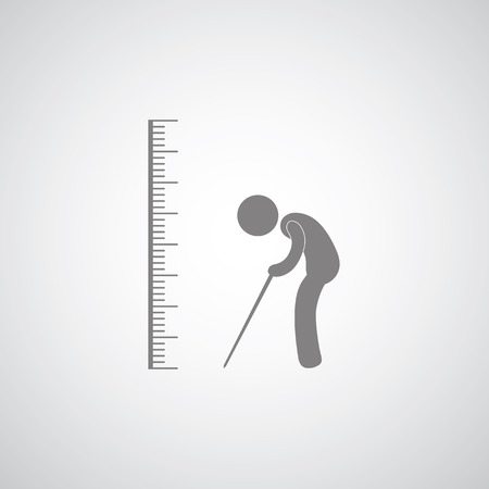 measure height: scale symbol  for elder on gray background  Illustration