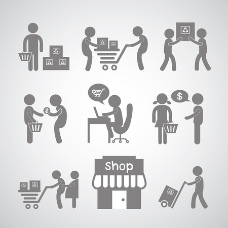 shoping bag: shopping and delivery on gray background
