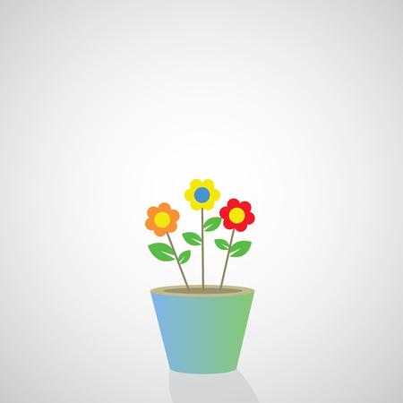 flowerpot vector cartoon on gray background Illustration