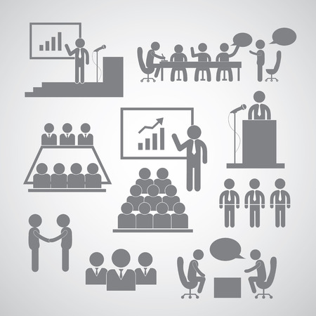 Business management and conference icon set  Vector