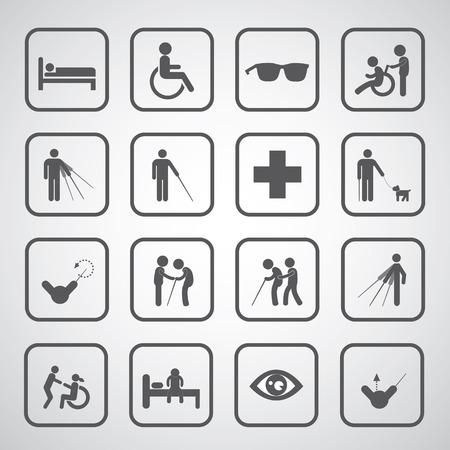 blind man: patient blind disabled and old man symbol for hospital