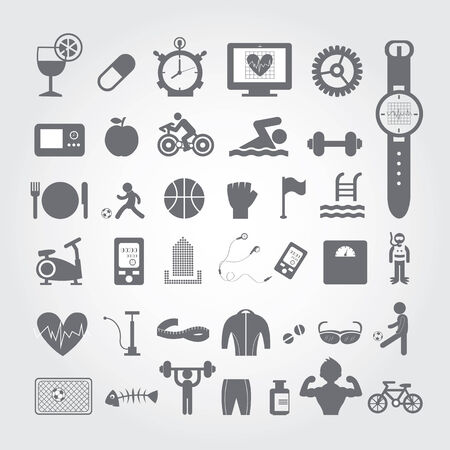 biking glove: Sports and healthy icons set on gray background Illustration