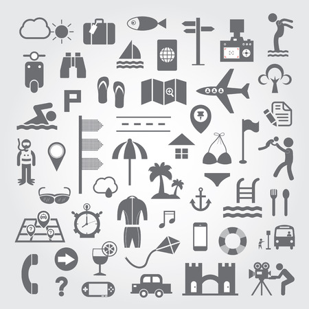 Travel and vacation icons set on gray background  Vector