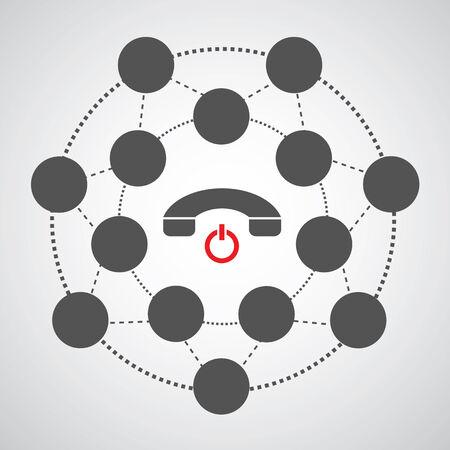 miss call: phone symbol in circle diagram  Illustration