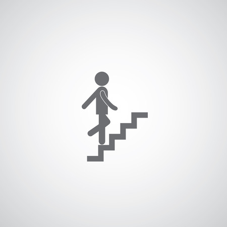 up staircase symbol on gray background  Ilustração