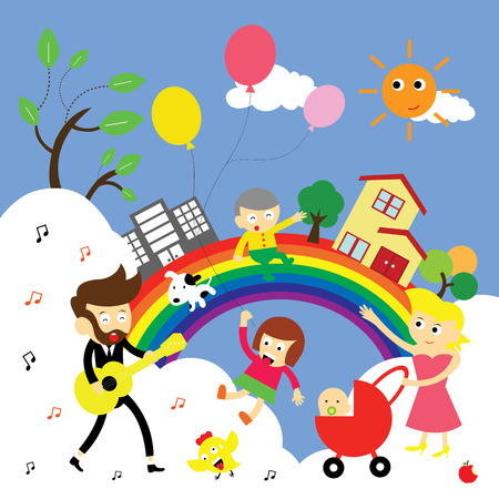 family happy time vector cartoon Vector