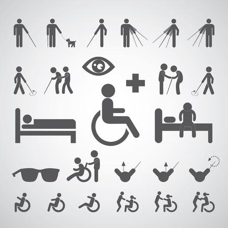 patiënt blind gehandicapten en oude man symbool voor het ziekenhuis Vector Illustratie