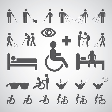 pictogram attention: patient blind disabled and old man symbol for hospital