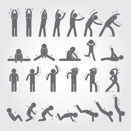 body exercise stick figure icon on gray background