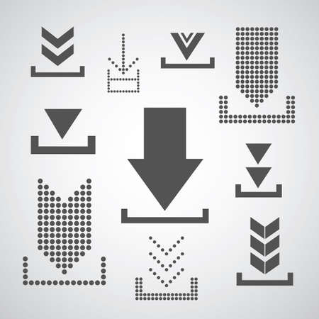 vector download: Vector download icon on gray background  Illustration