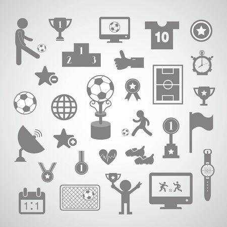 goal cage: football symbol set on gray background