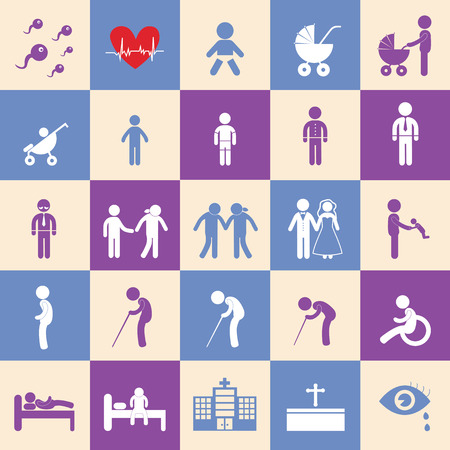 vector basic icon set for human life  Vector