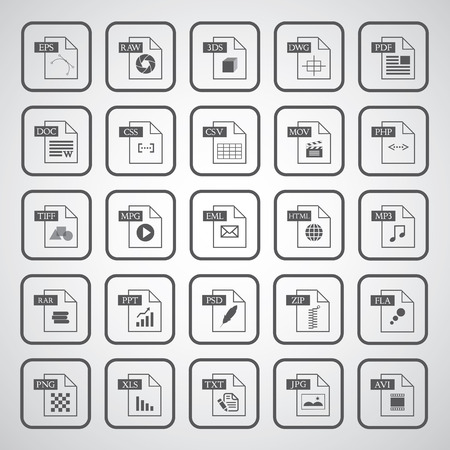 File type icon set  on gray background  Vector