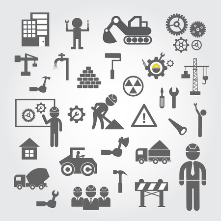 vector sign under construction: Construction icons set on gray background  Illustration