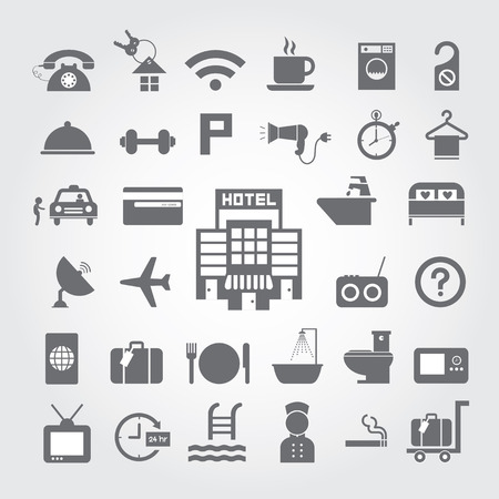 Hotel and travel icon set on gray background  Vector