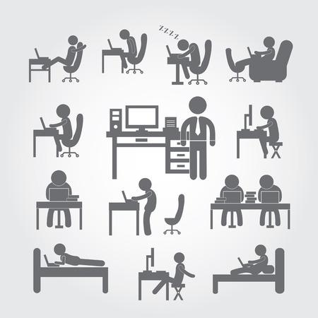 body human using computer symbol  Vector