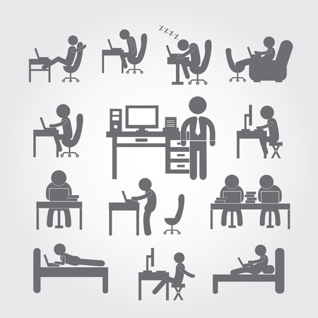buena postura: cuerpo humano utilizando símbolo ordenador