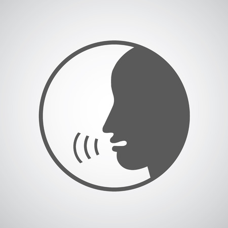 aloud: Talking icon on gray background