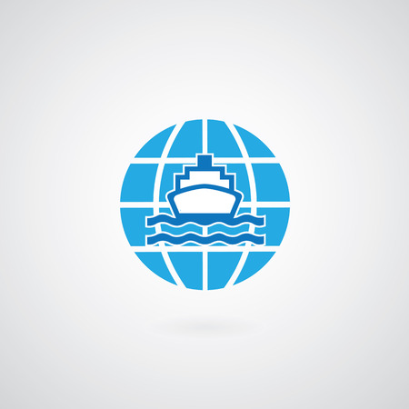 ship and globe logo design on gray background  Vector