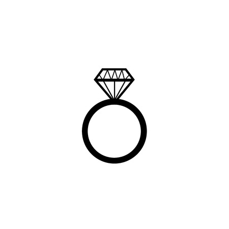 Diamond engagement ring vector symbol  Vector