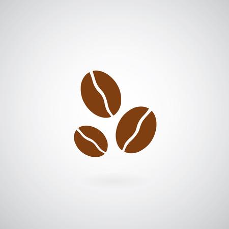 chicchi di caff�: Chicchi di caff� simbolo su sfondo grigio Vettoriali
