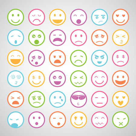 sad face: smiley faces icons cartoon set   Illustration